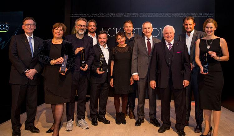 Foto: ©BMW Group -- Von Links: Friedrich Eichiner, Claus Meyer, Massimo Bottura, Michel und Marie-Pierre Troigros, Ulrike Thieltges, Eckart Witzigmann, Melanie Wagner und Klaus Erfort