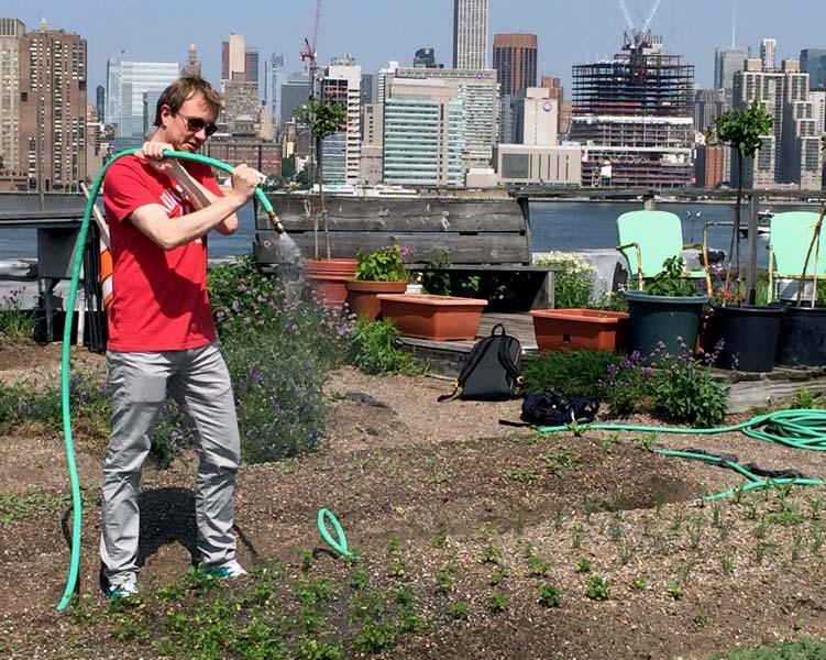 Mit angepackt: Derk beim Gärtnern