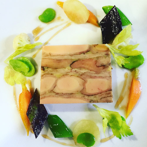 Fois Gras and confeit chicken terrine with vegetables, New York rooftop honey (© Bâtard Tribeca)